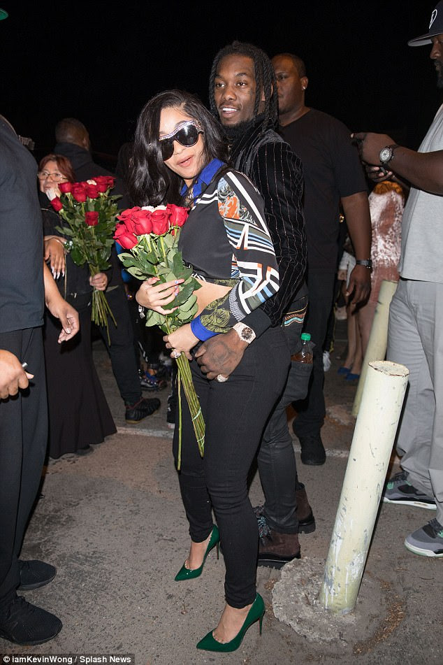 Happy couple: Cardi B proudly flaunted her dazzling $500,000 ring Monday night as she and her new fiance Offset swung by West Hollywood strip club Ace Of Diamonds on Monday night