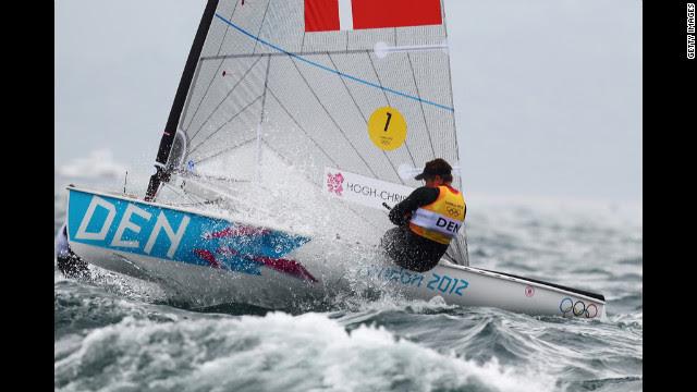 Jonas Hogh-Christensen of Denmark competes in the men's sailing Finn Race at Weymouth Harbor.
