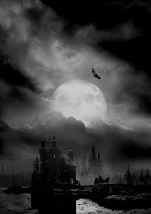 psychotic-southern-belle:    Haunting picture. Should we continue on our way to this dark house or should turn around and run? Is that a bat flying toward us? The house-drawn carriage is leaving at a quick pace. I believe we should follow its example and run to the hills!
