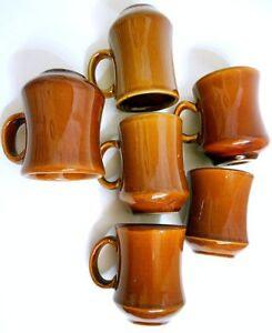 6 Retro Vintage Thick Heavy Brown Restaurant Ware Coffee Mug Cup USA + China EVC