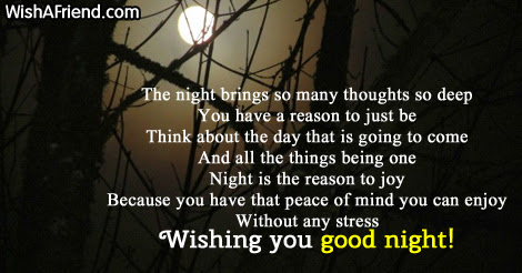 The Night Brings So Many Thoughts Sweet Good Night Message