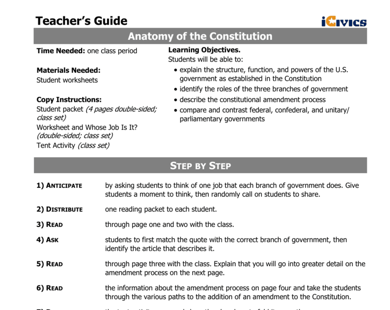 Anatomy Of The Constitution Worksheet Answer Key