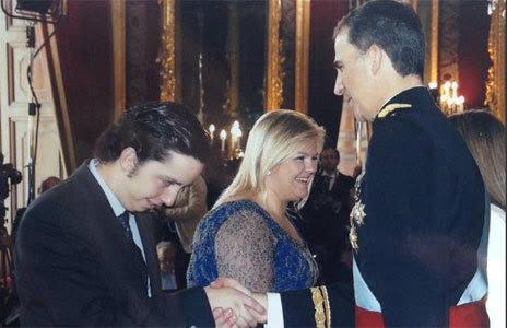 El joven Nicolás en la recepción de coronación del Rey Felipe VI
