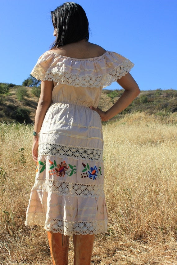 Sexy Senorita Oatmeal Cotton Bohemian Gypsy Vintage Mexican Hand Embroidered Dress