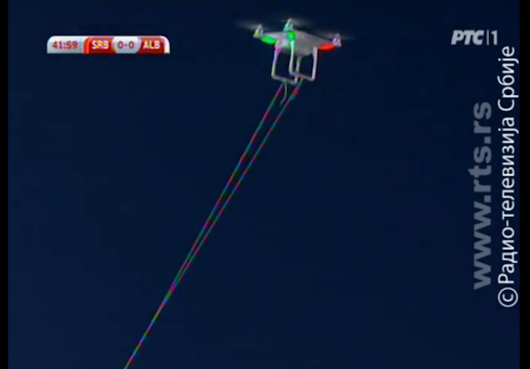 Serbia-Albania football match stopped because of DJI Phantom hovering over the stadium with Albania flag | Personal Drones
