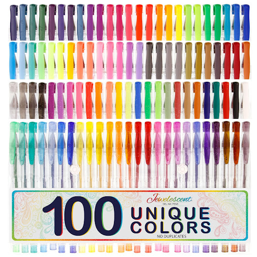 US Art Supply Jewelescent 100 Color Gel Pen Set #usartsupply