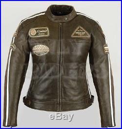 Blouson En Cuir Femme Moto Marron Vintage Veste En Cuir