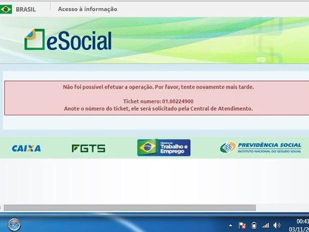 Thiago Marques Gimenes, de São Paulo, enviou imagem da tela mostrando erro na hora de gerar a guia de pagamento (Foto: Thiago Marques Gimenes/Vc no G1)