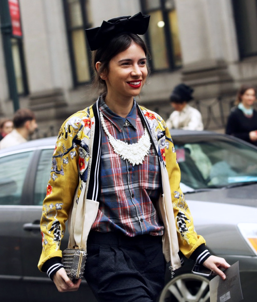 LE FASHION BLOG NEW YORK FASHION WEEK NYFW STREET STYLE FW FALL WINTER 2013 NATASHA GOLDENBERG RUSSIAN EDITOR BLACK BOW 31 PHILLIP LIM SATIN EMBROIDERED BOMBER JACKET  DRIES VAN NOTEN PLAID COLLAR SHIRT ENAMEL WHITE BIB NECKLACE RED LIPS LIPSTICK 1