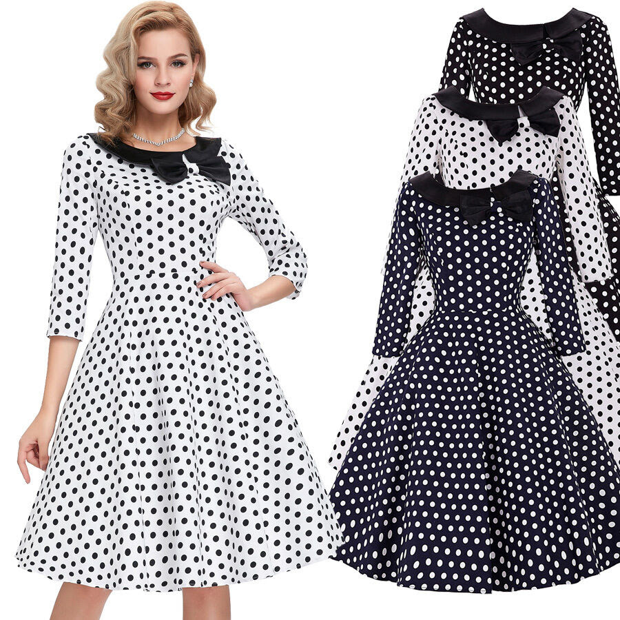 50s 60s dresses vintage style fifties polka dots swing