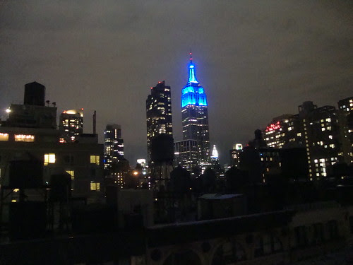 Empire State Building (in blue) and Chrystler Building (in white, to the right)