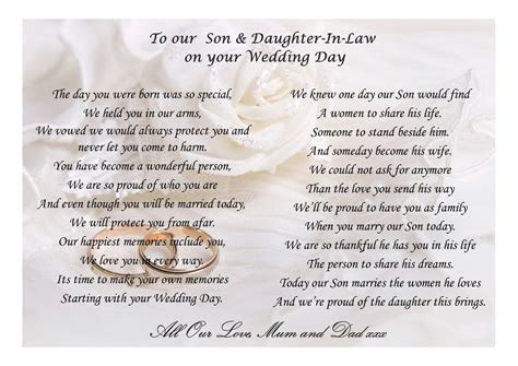 Poem For My Son and Daughter In Law on your wedding day