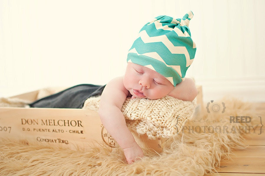 Newborn Hat, Turquoise Blue Chevron, Organic Cotton Knotted Baby Hat