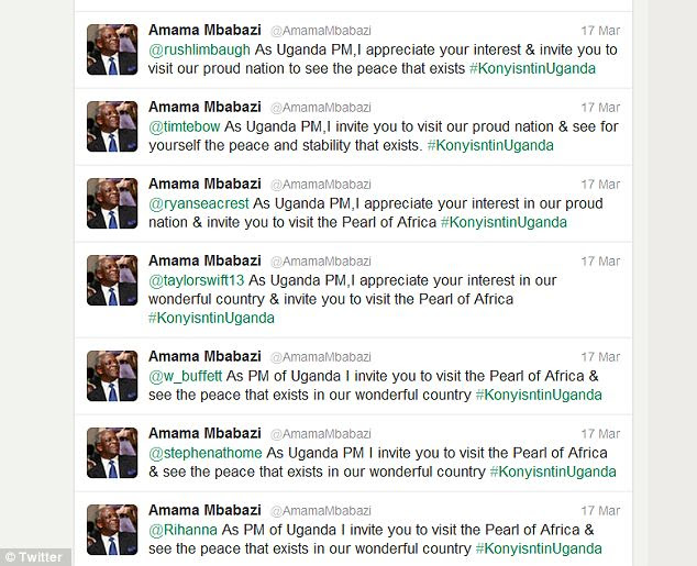 Spreading the word: Ugandan prime minister Amama Mbabasi Tweeted his message at celebrities