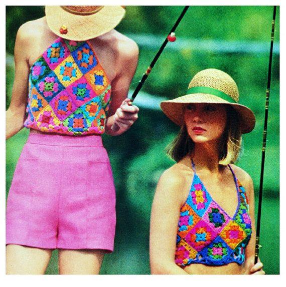 Vintage Crochet Pattern Granny Square Halter от 2ndlookvintage
