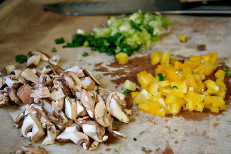 Chopped Mushrooms, Onions and Yellow Peppers