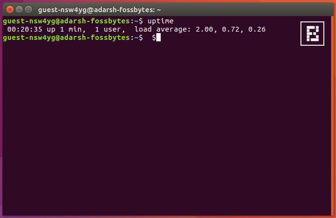 linux-ubuntu-uptime-command