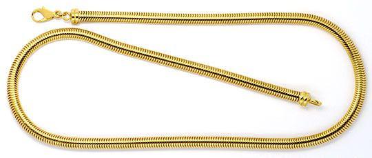 Original-Foto 1, MASSIVE OVALE SCHLANGEN-GOLDKETTE KOLLIER GELB-GOLD 18K, K2303