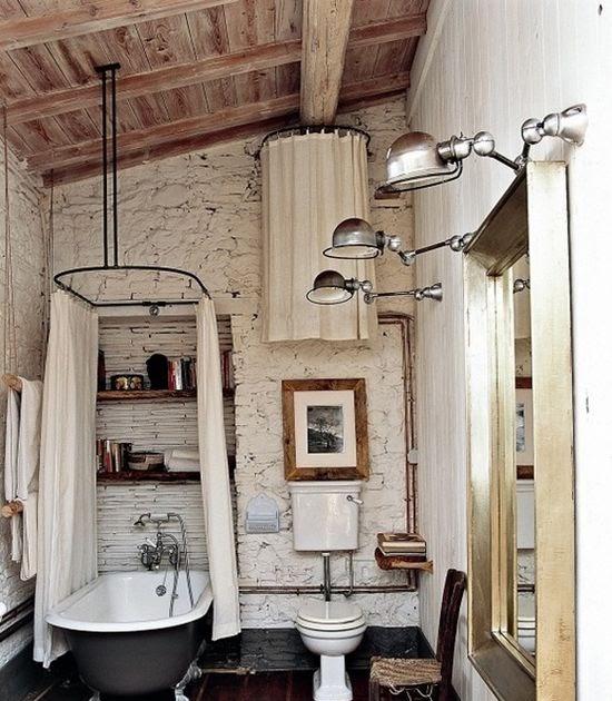 Bathroom Decor Ideas: vintage bathroom (love: ceiling + light fixtures
