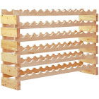 HomCom 72 Bottle Solid Wood Wine Storage Display Rack
