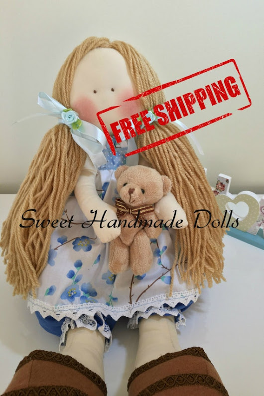 Jackie Blonde Doll with a white dress and by SweetHandmadeDolls