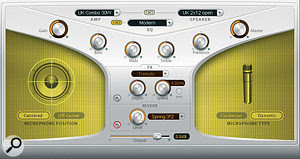 Logic's Guitar Amp Pro plug‑in was used both as an amp simulator and for its spring reverb emulation.