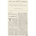 New York Weekly Journal, /N1733. Front Page Of The Second Number Of John Peter Zenger'S (1697