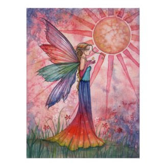 Sunshine and Rainbow Fairy Poster print