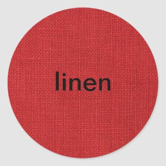 Red Linen Fabric Texture Round Sticker