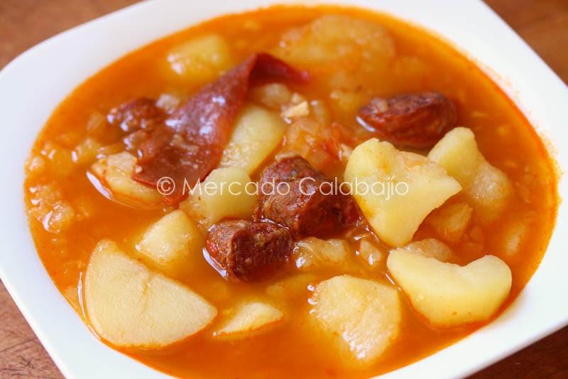 Patatas con chorizo a la riojana receta paso a paso mercado calabaj o - Judias con chorizo y patatas ...