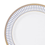 """Kaya Collection 10 Plates, 7.5"""" White with Blue and Gold Chord Rim Plastic Appetizer/Salad Plates"""