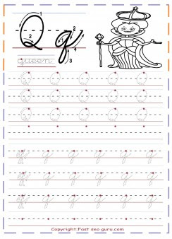 cursive handwriting tracing worksheets letter q for queen_1210479110