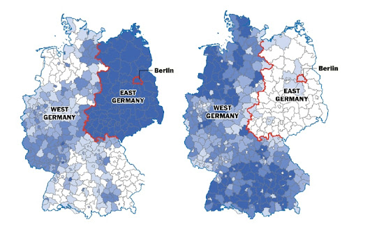 The Berlin Wall fell 25 years ago, but Germany is still divided