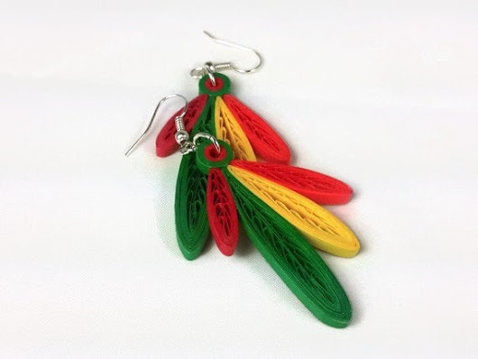 Four Feathers Paper Quilled Earrings  by SweetheartsandCrafts