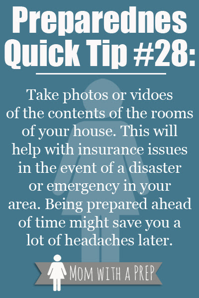 Preparedness Quick Tip #28: If You Like It then You Need to Take a Picture of It - Creating a Home Inventory - Mom with a PREP