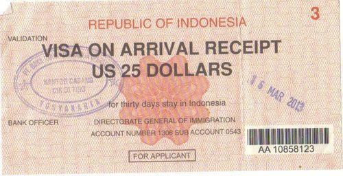 Виза от остров Ява, Индонезия