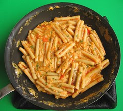 Pasta frittata in mini frying pan