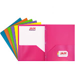 JAM Paper Plastic 2-Pocket Folders, Eco Friendly Folder with Metal Clasps, Assorted Fashion Colors, Pack of 6 Folders