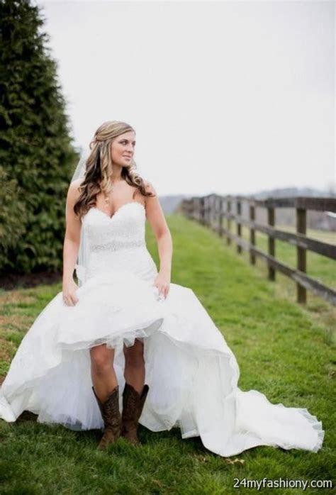 short country style wedding dresses with cowboy boots