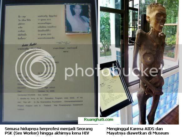 Salah satu saksi bisa akhir hidup dari seorang penderita HIV yang diabadikan di Museum HIV-AIDS di Thailand