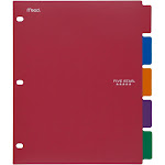 Acco Brands 20040 11 X 9-1/8 Five Star Tabbed Dividers Assorted Colors 5 Count
