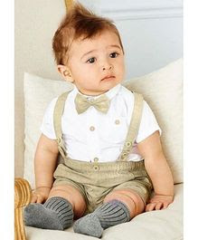 Pre Order - Awabox Shirt & Suspender Style Shorts Set - Light Brown