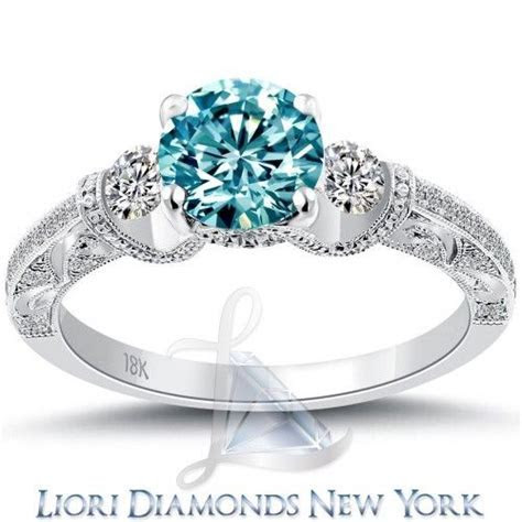 1.74 Carat Fancy Blue Diamond Engagement Ring 18k White