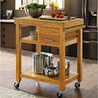 Clevr Rolling Bamboo Wood Kitchen Island Cart Trolley with Towel Rack Drawer Shelves, Natural