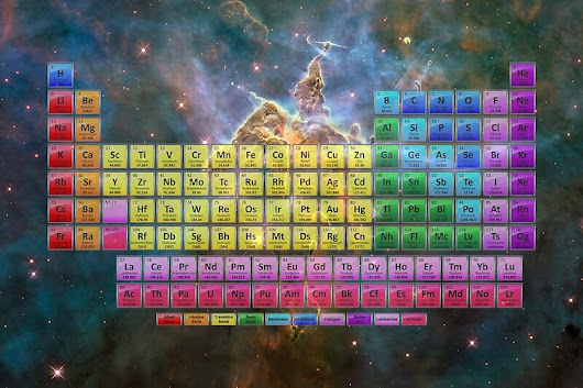 '118 Element Color Periodic Table - Stars and Nebula'  by sciencenotes