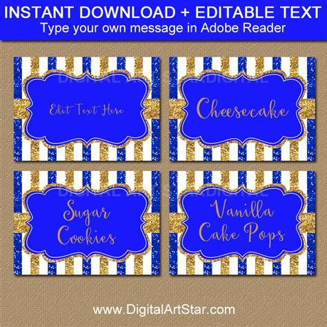Royal Blue and Gold Baby Shower Printable Labels and Place