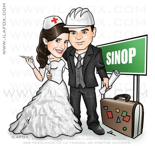 caricatura corpo inteiro, casal noivos, engenheiro, capacete engenheiro agrícola, mato grosso, Sinop, enfermeira, caricatura para casamentos by ila fox