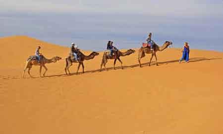 balade en domadaire dans les dunes de Merzouga au sud du Maroc
