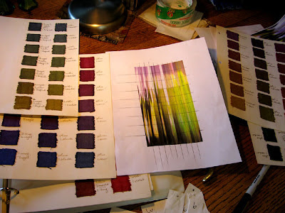 Cartoon and color swatches for warp painting