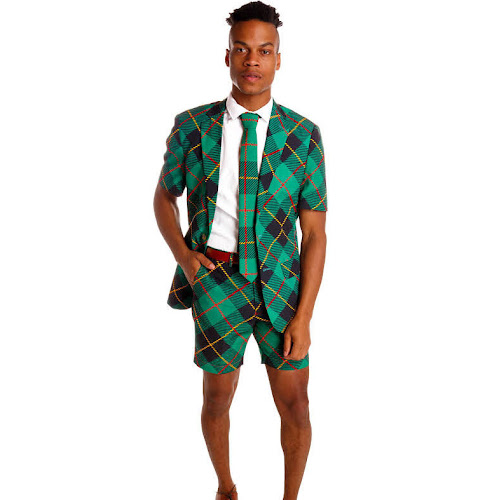 The Short DangerfieldThermos Plaid Short Suit, Green, Size 36